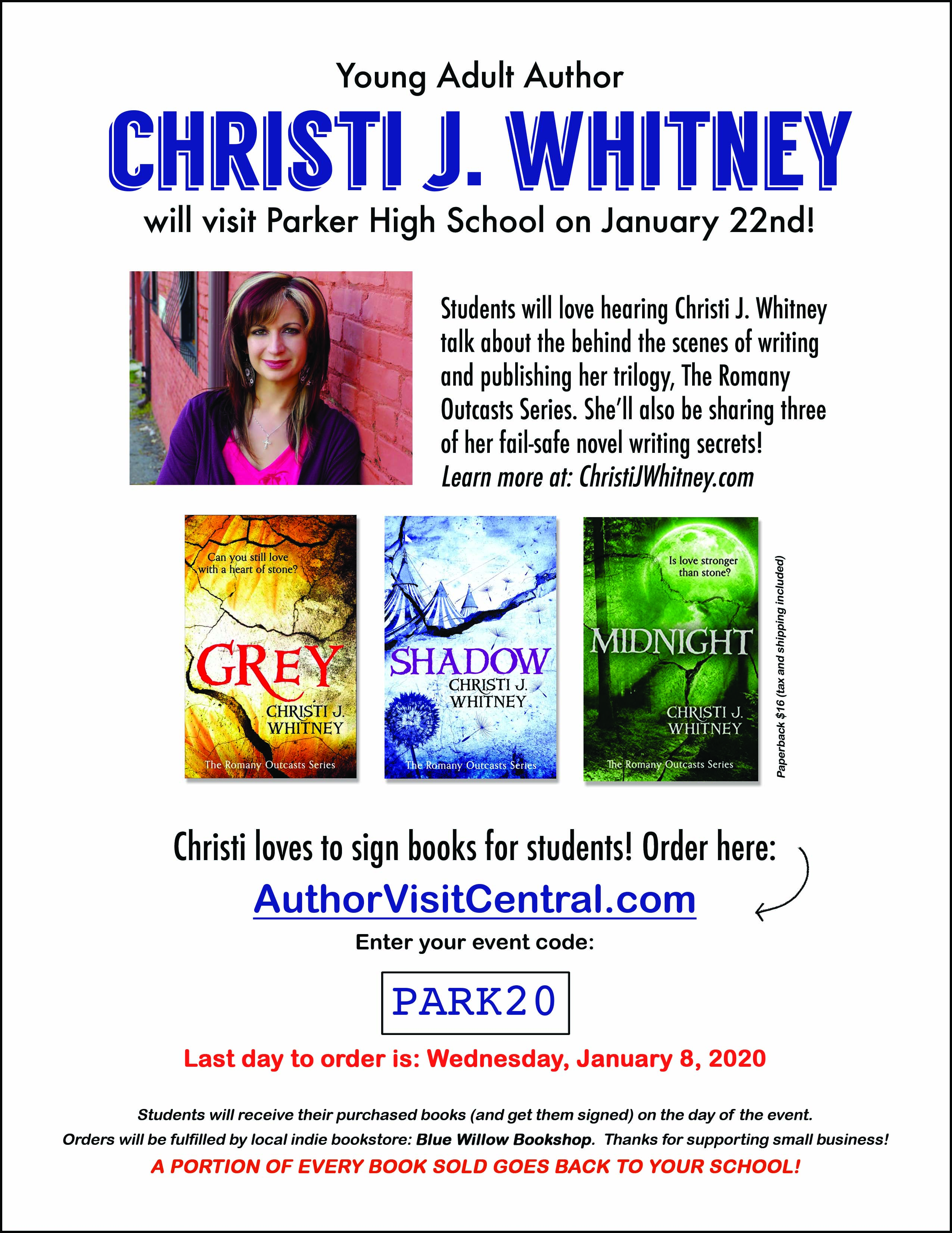 Christi J. Whitney Author Visit Flier