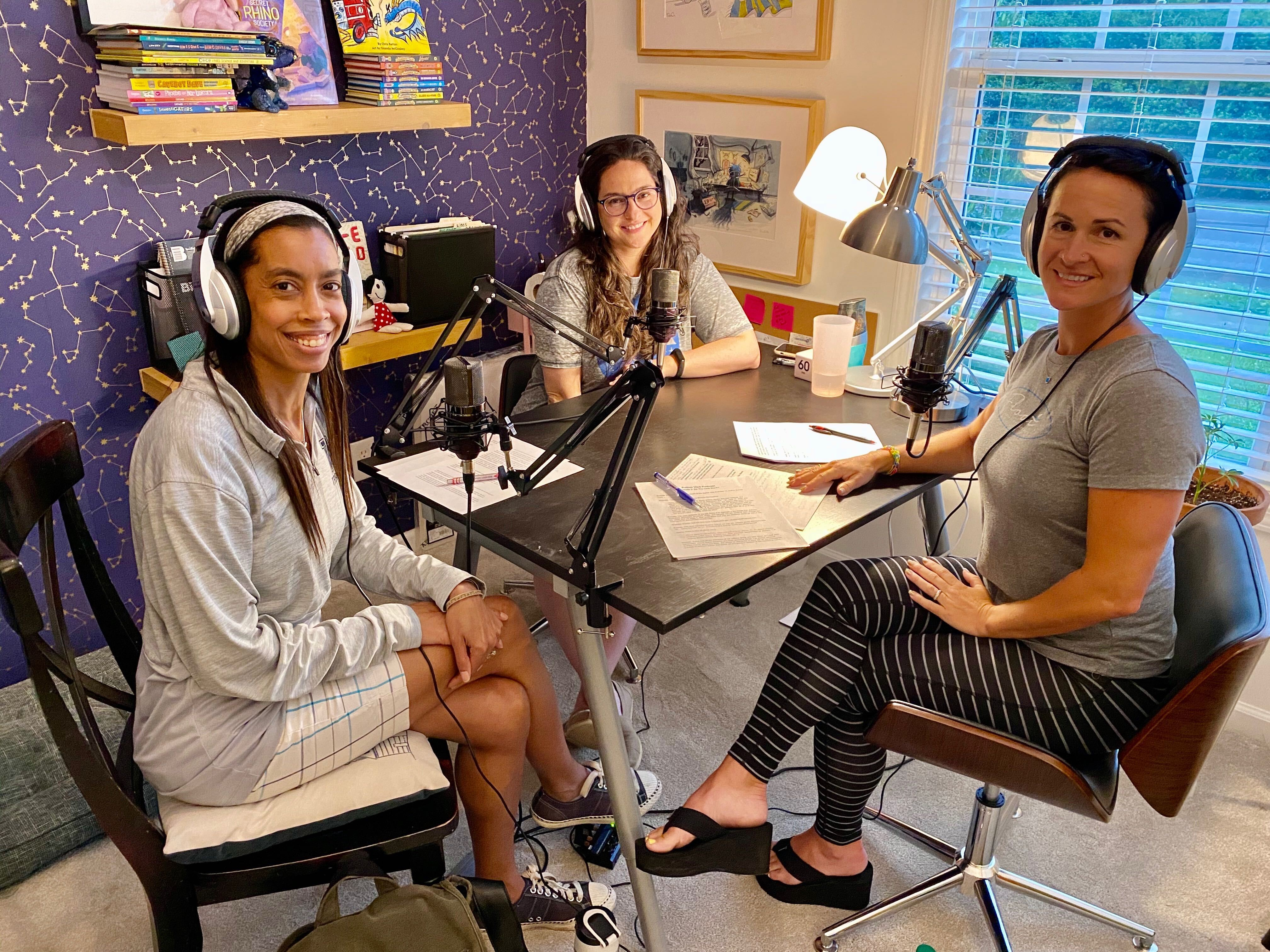 Tosha (T.L.) Sumner, Shanda McCloskey, and Bonnie Clark getting ready to record the podcast episode 2.