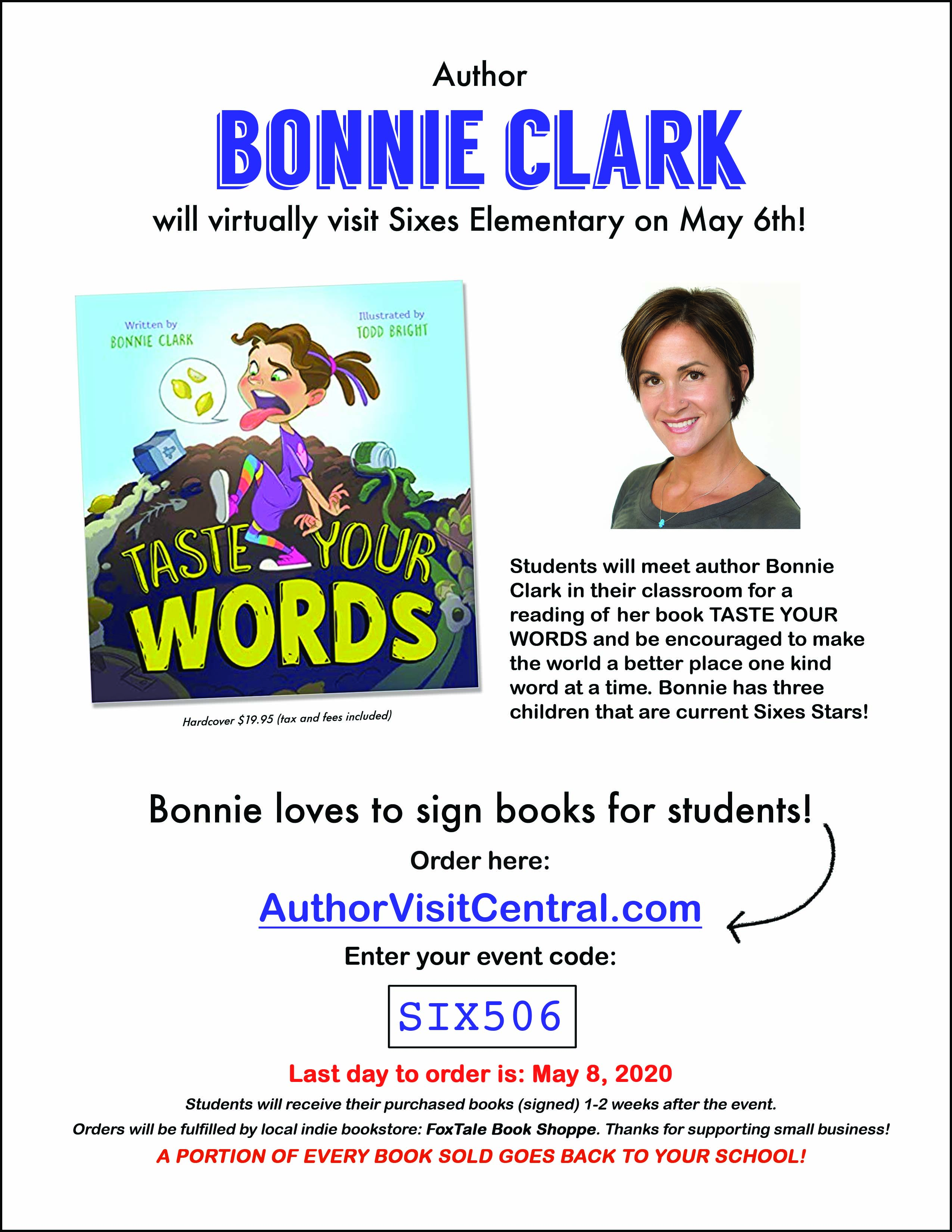 Bonnie Clark Author Visit Flier